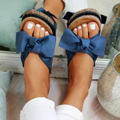 PVC Flascher Absatz Sandalen Flache Schuhe Peep Toe mit Bowknot Schuhe