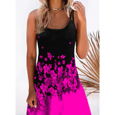 Print/Floral/Color Block Sleeveless Shift Knee Length Casual/Vacation Slip Dresses
