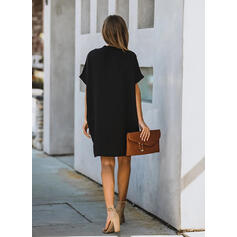 Solid Short Sleeves Shift Knee Length Little Black/Casual Dresses