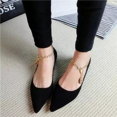 Women's Suede Flat Heel Flats Platform With Chain shoes