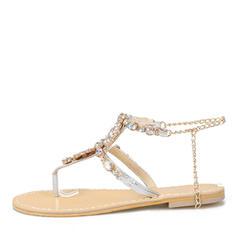 Femmes Similicuir Talon plat Sandales Chaussures plates À bout ouvert Escarpins avec Strass Chaîne chaussures