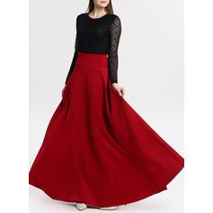 Seda artificial Color sólido Maxi Faldas A-Line