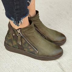 Mulheres PU Sem salto Botas Bota no tornozelo com Zíper sapatos