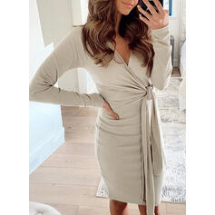 Solid Long Sleeves Bodycon Knee Length Elegant Pencil Dresses