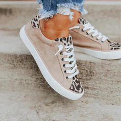 Women's Leatherette Flat Heel Flats Espadrille With Lace-up Splice Color shoes