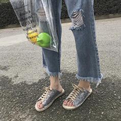 Vrouwen PU Flat Heel Sandalen Flats Peep Toe met Ribbon Tie schoenen