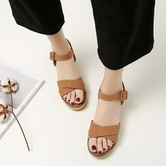 Frauen Kunstleder Keil Absatz Sandalen Schuhe