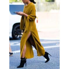 Jednobarevné Kulatý výtřih Neformální Dlouhé Svetrové šaty