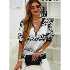 Print Leopard Sequins V-Neck Long Sleeves Sweatshirt