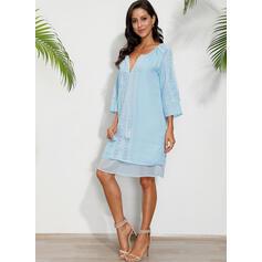 Print Long Sleeves Shift Above Knee Casual/Boho/Vacation Tunic Dresses