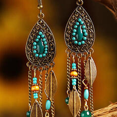Tassels Design Drop Shape Alloy Beads Women's Earrings 2 PCS