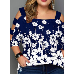 Print Floral Cold Shoulder 3/4 Sleeves Casual Plus Size Blouses