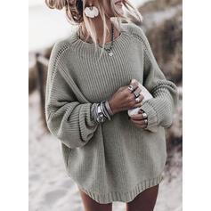 Egyszínű Bordázott Nagyhurkos kötés Kerek nyak πουλόβερ