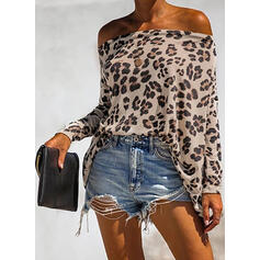 luipaard Off the Shoulder Lange Mouwen Casual Overhemd