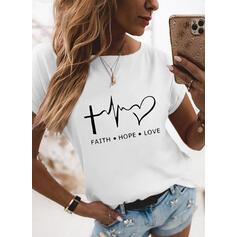 Cœur Imprimé Letter Col Rond Manches Courtes T-shirts