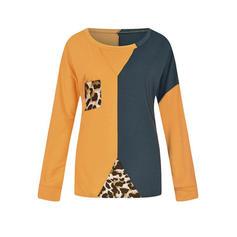 Fargeblokk Dyreprint Rund hals Lange ermer Casual Strikking T-skjorter