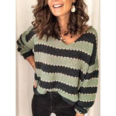 Color Block Striped Chunky knit V neck Sweaters