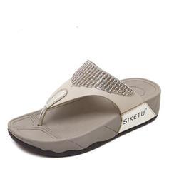 Femmes Similicuir Talon compensé Sandales Compensée À bout ouvert Tongs chaussures