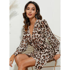 Leopard Long Sleeves/Puff Sleeves Bodycon Above Knee Sexy/Party Dresses
