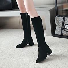 Women's Suede Chunky Heel Pumps Knee High Boots With Zipper shoes
