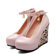 Femmes PU Talon compensé Escarpins Plateforme Bout fermé Compensée avec Boucle chaussures