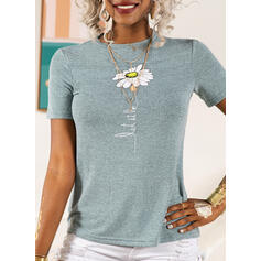 Print Floral Figure Round Neck Short Sleeves Casual T-shirts