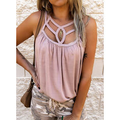 Solid Round Neck Sleeveless Tank Tops