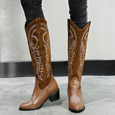 Frauen PU Stämmiger Absatz Stiefel Kniehocher Stiefel mit Tierdruckmuster Schuhe