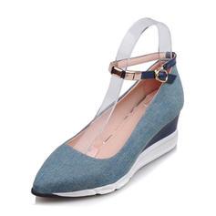 Femmes Treillis Talon compensé Bout fermé Compensée avec Boucle chaussures