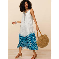 Print Sleeveless Shift Slip Casual/Boho/Vacation Midi Dresses