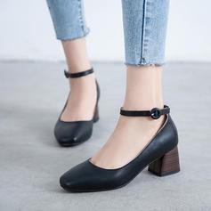 Kvinder PU Stor Hæl Pumps med Spænde sko