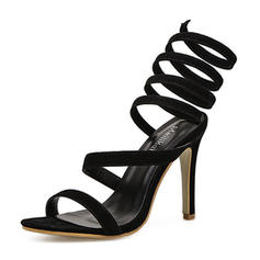Women's Suede Stiletto Heel Sandals Pumps Peep Toe Slingbacks With Others shoes