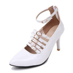 Women's Patent Leather Stiletto Heel Pumps Platform Closed Toe With Buckle shoes