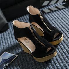 Femmes Suède Talon compensé Sandales avec Zip chaussures