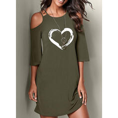 Print 3/4 Sleeves/Cold Shoulder Sleeve Shift Above Knee Casual Dresses