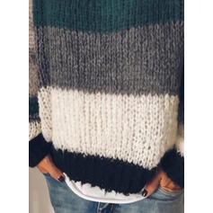 Geblockte Farben Rundhals Freizeit Pullover