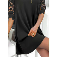 Lace/Solid 1/2 Sleeves Shift Above Knee Little Black/Elegant Dresses