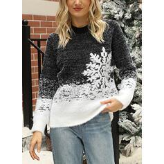 Dames katoenblends Print Lelijke kerstsweater