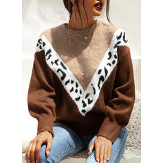 Color Block Animal Print Round Neck Casual Sweaters