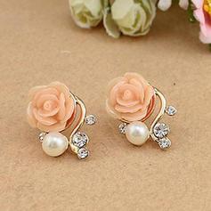 Hermoso Aleación Resina con Perlas de imitación Señoras' Pendientes de la manera