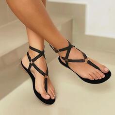 Femmes PU Talon plat Sandales Chaussures plates À bout ouvert Escarpins Tongs Low Top avec Ouvertes Couleur unie Bandage chaussures