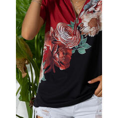 Print Floral V-Neck Short Sleeves Casual Shirt Blouses
