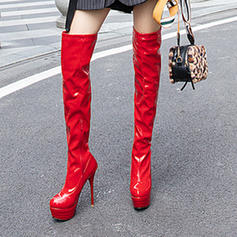 Frauen Kunstleder Lackleder Stöckel Absatz Absatzschuhe Plateauschuh Stiefel Stiefel über Knie Schuhe