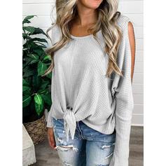 Solide Cold Shoulder Lange Mouwen Casual Breiwerk Overhemd