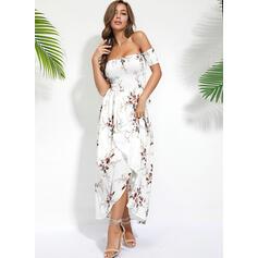 Nadrukowana/Kwiatowy Krótkie rękawy W kształcie litery A Casual/Boho/Wakacyjna Maxi Sukienki