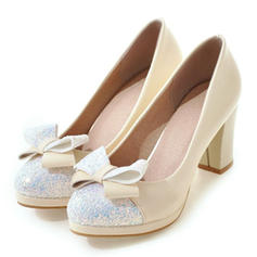Vrouwen Kunstleer Sprankelende Glitter Kitten Hak Closed Toe Pumps met strik