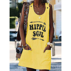 Print Sleeveless Shift Above Knee Sexy/Casual Dresses