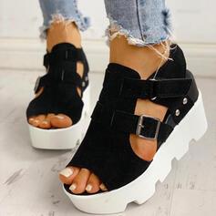 Vrouwen Suede Wedge Heel Sandalen Wedges Peep Toe met Gesp schoenen