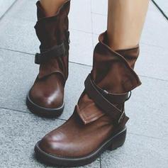 De mujer PU Tacón plano Planos Cerrados Botas Botas longitud media con Hebilla zapatos