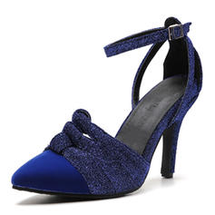 Women's Suede Stiletto Heel Sandals Pumps Peep Toe With Buckle shoes